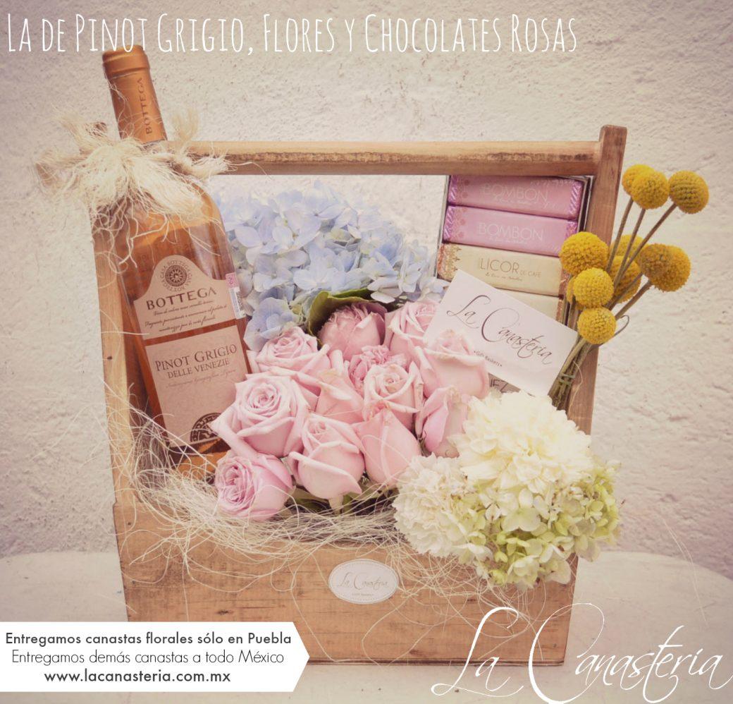 Arreglo Floral Con Vino Rosado Y Chocolates Arreglos Finos