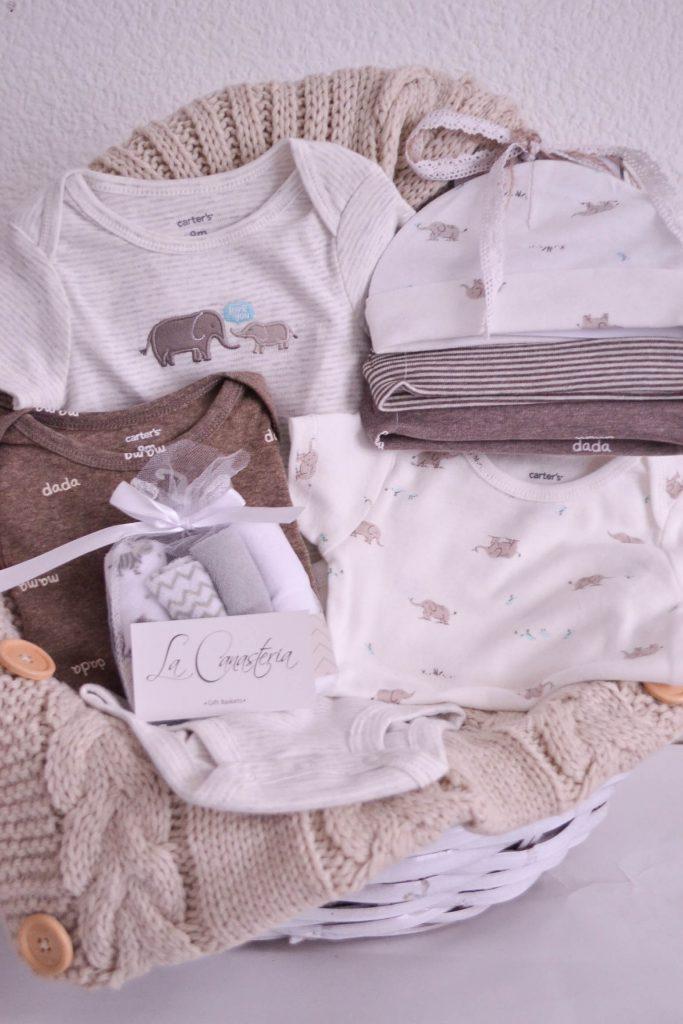 Canasta de regalo para niño recién nacido con fina temática de león y elefante