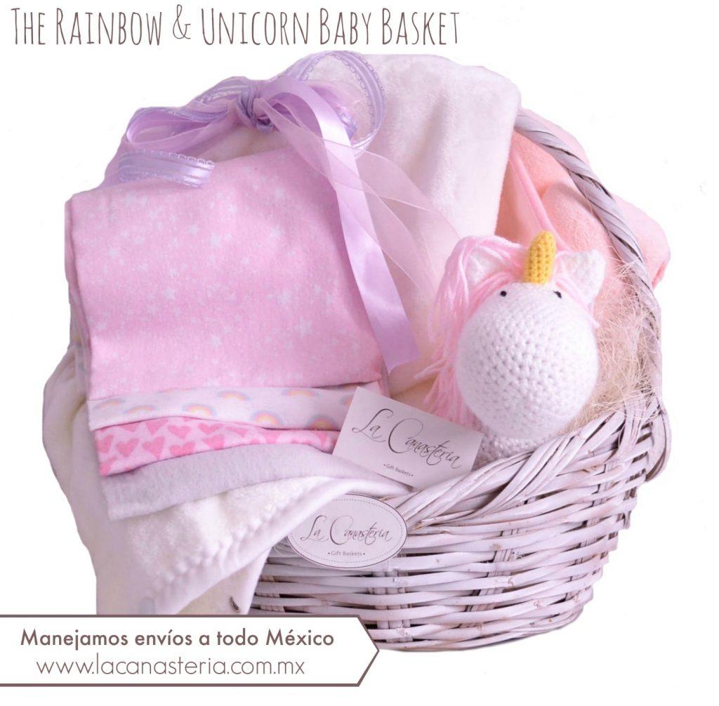 Canasta de regalo para recién nacida con diseño fino y entrega a domicilio