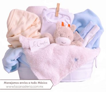 Fina canasta de regalo para niño recién nacido con envios a todo México